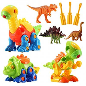 Dinosaur Toys STEM Building Toys - 3 Pack Take Apart Toys with Tools and 3 Pack Bonus Realistic Di..