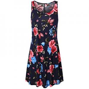 45.0% off UXELY Women t Shirt Dress Summer Casual Sleeveless Dress Flowy Floral Dress Tunic Dress ..