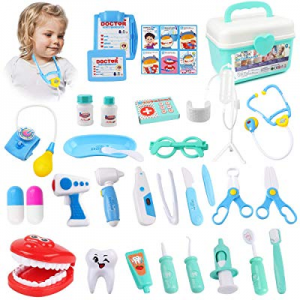 KIDCHEER Pretend Play Doctor Kit for Kids now 40.0% off , Dentist Role Play Educational Toy with S..