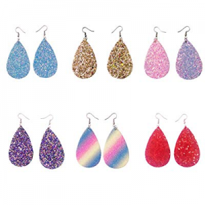 71.0% off U Angela 6 Pairs Faux Leather Glittery and Colorful Sequined Earrings Petal Earrings and..