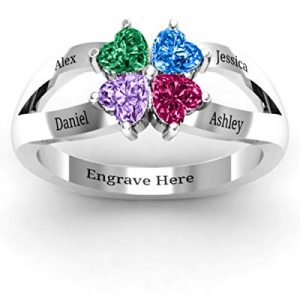 YokeDuck Personalized Mother's Ring with 4 Birthstone now 60.0% off , 925 Sterling Silver Promise ..