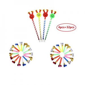 36 pcs Musical Blow Outs,Birthday Party Favors now 55.0% off , New Years Party Noisemakers Party B..