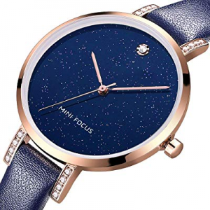 MF MINI FOCUS Women Fashion Watch with Leather Strap now 60.0% off , (Blue, Black, Alloy, Wear-Res..
