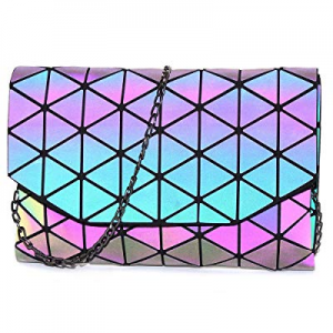 One Day Only!KAISIBO Geometric Metal Chain Shoulder Purses and Handbags Crossbody Messenger Bag no..