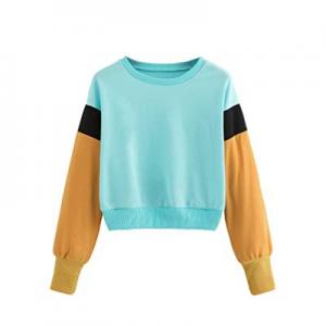 Verdusa Women's Cartoon Long Sleeve Colorblock Crop Top Sweatshirt Pullovers now 79.0% off