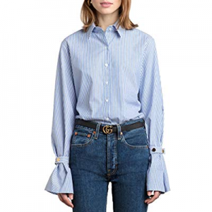 HaoDuoYi Womens Stripe Button Down Top Shirt with Flare Cuff Sleeve now 50.0% off