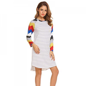 Hersife Women Long Sleeve Casual Striped Loose Midi T Shirt Dress now 57.0% off