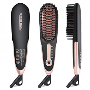 Hair Straightener Brush Faster Ceramic Heating Straightening Iron Brush Travel Size Portable Frizz..