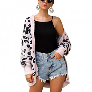 One Day Only!15.0% off BTFBM Women Fashion Leopard Print Button Down Long Sleeve Soft Loose Knit S..
