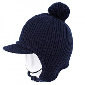Aablexema Toddler Beanie with Visor - Baby Winter Warm Fleece Hat with Ear Flaps now 50.0% off
