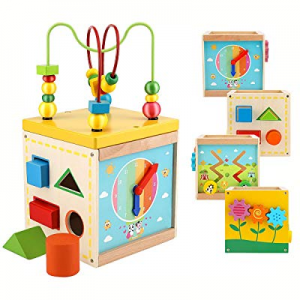 Wooden Activity Cube Toddler Educational Wooden Play Cube with Shapes Shorter Bead Maze Learning P..