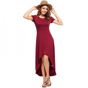 ELESOL Women's Casual Hi Low Long Maxi Dress Short Sleeve Summer Swing Dress now 48.0% off