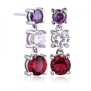 40.0% off Crystal Dangle Earrings for Women - Sterling Silver Rhodium Plated Round CZ Cubic Zircon..
