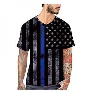 Mens Fashion Print T Shirts - American Flag Blouse T-Shirt Summer Short Sleeve Tops now 80.0% off