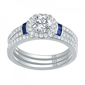Newshe 3pcs Created Blue Sapphire AAA Cz 925 Sterling Silver Engagement Wedding Ring Set Size 5-10..
