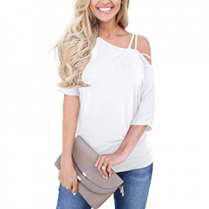 Locryz Women's Summer Tops Casual Short Sleeve Blouses One Off Shoulder Strappy T Shirts now 20.0%..