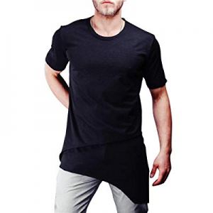 Mens Fashion Hipster T Shirts - Casual Slim Fit Blouse Summer Irregular Tops now 80.0% off