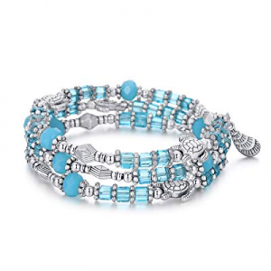 BRIGHT MOON Warp Blue Crystal Charm Bracelets for Women Girls with Star Fish and Turtle Pendant no..