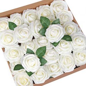 Mocoosy 50Pcs Artificial Roses Ivory now 40.0% off , Fake Rose Cream White Foam Latex Rose Bulk wi..