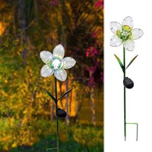 55.0% off MUMTOP Solar Garden Lights Flower Metal Stakes Outdoor Solar Lights for Lawn Yard Patio ..