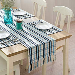 JOYHILL Farmhouse Table Runner with Tassels 14x72 Inch for Home Decoration and Everyday Use now 10..