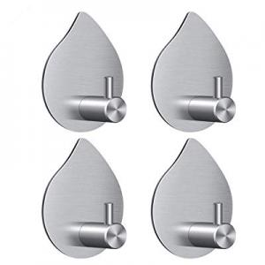 30.0% off Towel Hook Adhesive Hooks - 4 Pack Teardrop Shape Wall Hooks - Stainless Steel and Heavy..