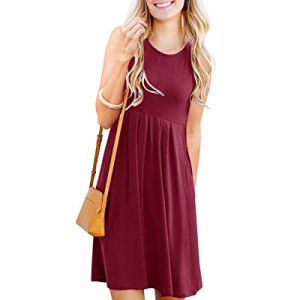 PAPOSON Women Sleeveless Pleated Loose Casual Dresses with Pocket Summer Swing Tank Dress now 30.0..
