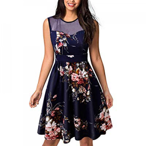GIKING Women's Vintage Floral Pleated Sleeveless Mesh Stitching Cocktail Party Dress now 50.0% off