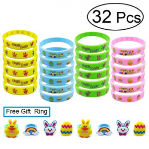 West Bay Kids Silicone Bracelets, 32Pcs Rubber Wristbands 8Pcs Silicone Ring for Kids now 80.0% off