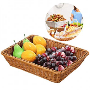 70.0% off Extra Large Poly-Wicker Bread Basket Rectangle Imitation Rattan for Food Serving Restaur..