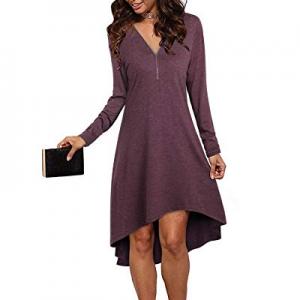 VOTEPRETTY Women's Long Sleeve Zip V Neck High Low Tunic Midi Dress now 50.0% off