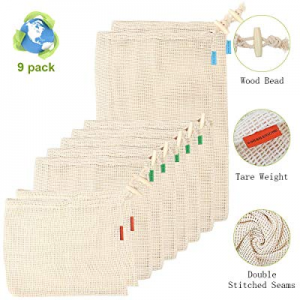 Net Zero Produce Bags now 40.0% off , JR.WHITE Reusable Mesh Produce Bags with Drawstring, Tare We..