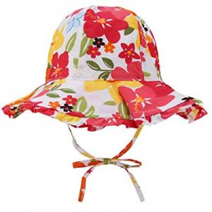 Baby Sun Hat for Girls - Toddler Kids Girls UPF 50+ Wide Brim Bucket Sun Protection Hat with Tie n..