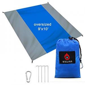 IFELISS Sandfree Outdoor Beach Blanket -Sand Proof Picnic Mat Quick Drying Heat Resistant Nylon Wa..