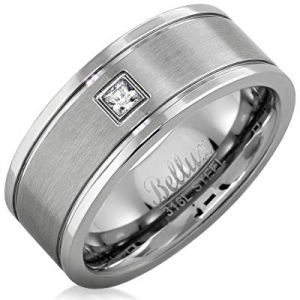 50.0% off Bellux Style Stainless Steel Mens Wedding Rings CZ Wedding Bands for Him Comfort-Fit Cen..