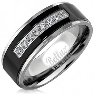 40.0% off Bellux Style Mens Wedding Bands Stainless Steel Promise Rings for Him Silver Black Comfo..