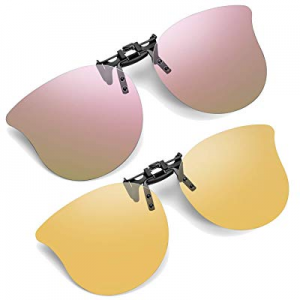 50.0% off Polarized Cat Eye Clip On Sunglasses - 2 Packs Flip Up Sunglasses Over Prescription Glas..