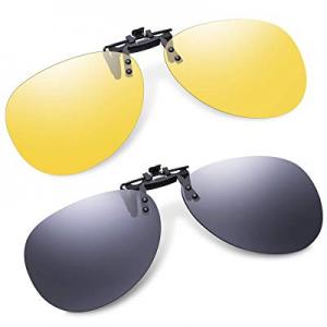 50.0% off Clip-On Aviator Sunglasses Polarized for Driving - 2 Packs Unisex Flip-Up Pilot Lens for..