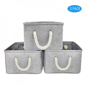 One Day Only!Silanto Fabric Storage Organizer Bins 3-Pack Decorative Baskets for Storage Toys Book..