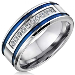 One Day Only!Mens Wedding Bands Stainless Steel CZ 8mm Blue Stripes Engagement Rings for Him Men W..