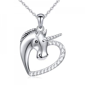 One Day Only!Sterling Silver Forever Love Unicorn in Heart Pendant Necklace for Women, Rolo Chain ..