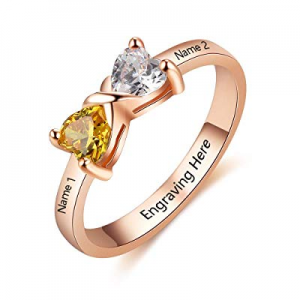 YokeDuck Personalized Promise Rings with Heart Birthstones now 40.0% off , Sterling Silver Engrave..