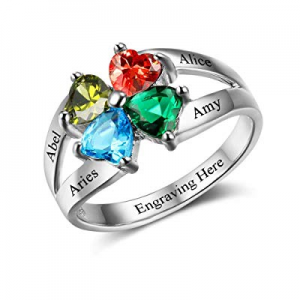 Yoke Style Mothers Rings with 4 Birthstones Personalized now 20.0% off , Custom Engraved Name Prom..
