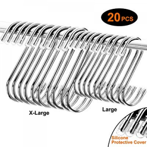 AJSPOW 20PCS S Hooks now 50.0% off , Sturdy and Shiny with No Sharp Edges Hanger Hooks Great for K..