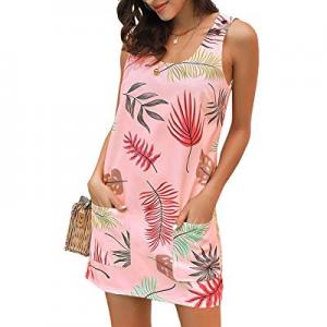 One Day Only!GRAPENT Women's Casual Summer Sleeveless Pocket Boho Print Shift Mini Dress now 65.0%..