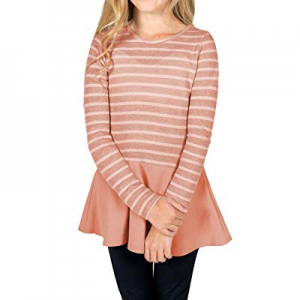 One Day Only!GRAPENT Girls Casual Stripe Knit Top Long Sleeve Ruffle Hem Tunic Blouse 4-13 Years n..