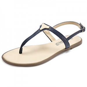 One Day Only!SANDALUP Flat Thong Sandals with Triangle Metal for Women now 75.0% off