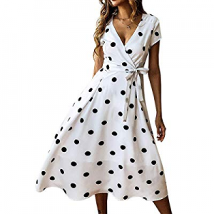 One Day Only!Bbalizko Womens Boho Wrap V Neck Polka Dot Swing Beach Summer Midi Dress with Belt no..