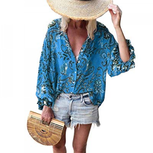 One Day Only!GRAPENT Women's Floral Print V Neck Button Down Shirt Long Sleeves Blouse Tops now 60..