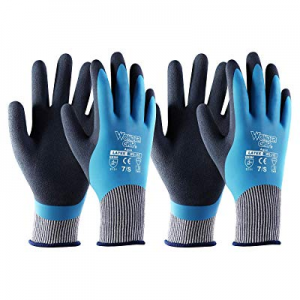 One Day Only!T4U Waterproof Gardening Work Gloves 2 Pairs now 40.0% off , Double Latex Coated Grip..